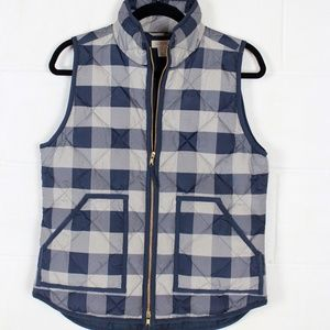 J Crew Womens Down Plaid Quilted Puffer VEST S